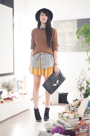 burnt orange asos sweater - gold asos dress - light blue asos shirt