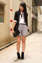 black cotton on shoes - white random from Hong Kong shirt - black asos bag - lig