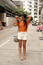 orange random from Hong Kong t-shirt - white Zara shorts - gold Prada shoes - si