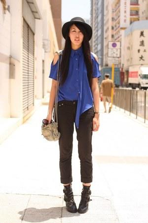black Forever21 jeans - blue romwe shirt