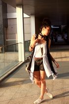 black Zara shorts - white Zara shoes - black random from Hong Kong vest - blue r