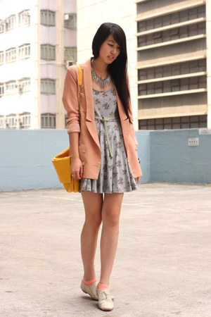 gold Zara bag - periwinkle from japan dress - light pink korea blazer