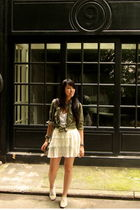 green from japan shirt - white from japan skirt - beige Zara shoes - silver Alex