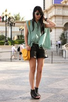 aquamarine random from Hong Kong shirt - gold Zara bag - black Zara shorts