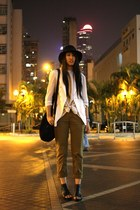 black H&M hat - white random from Hong Kong blazer - olive green Uniqlo pants -