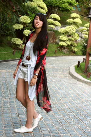 red random from Hong Kong scarf - white Zara shoes - blue Forever 21 shorts - bl
