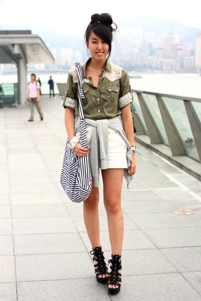 green from japan shirt - white Zara shorts - black random from Hong Kong shoes -