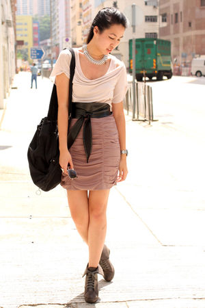 pink random from Hong Kong t-shirt - pink H&M skirt - brown random from Hong Kon