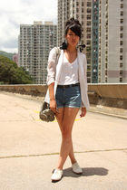 blue Zara shorts - white random from Hong Kong blazer - white Zara shoes - white