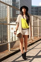 yellow asos top - black cotton on boots - dark gray H&M hat - peach Zara bag