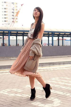 black cotton on shoes - white Monki dress - light pink Monki skirt - beige korea