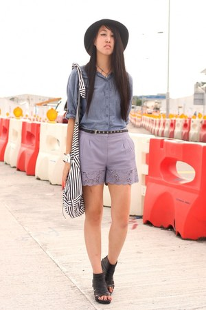 light purple asos shorts - sky blue H&M shirt