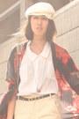 Red-hong-kong-scarf-eggshell-jeanasis-shorts