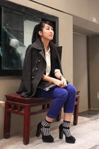 blue Forever 21 jeans - heather gray Forever 21 jacket - black Zara blazer - bla