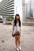 white random from Hong Kong blazer - white Zara shoes - gray cotton on shorts