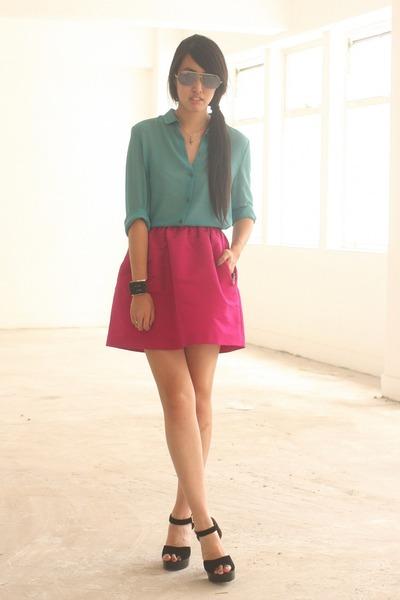 teal Alessandro DellAcqua shirt - hot pink Alessandro DellAcqua skirt