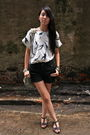 White-thrift-store-top-black-zara-shorts