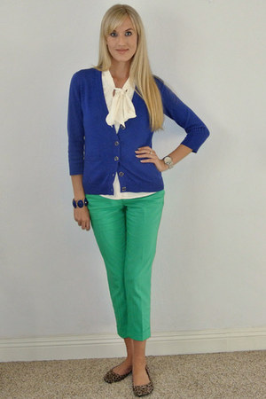 green Express pants - blue banana republic cardigan