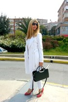 white Y London coat - white Pull-it jeans - carrera sunglasses - red Zara heels