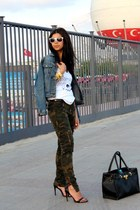 denim Mavi jacket - white H&M sunglasses - black Zara sandals - camo Zara pants