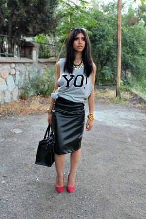 leather custom made skirt - red Zara heels - yo weekday hoodie