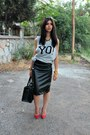 Yo-weekday-hoodie-red-zara-heels-leather-custom-made-skirt