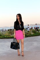 black new look shirt - H&M sunglasses - mini Koton skirt - Zara sandals