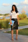 Hologram-tiffany-bag-zara-sandals-leather-custom-made-skirt