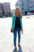 mint Pimkie jacket - Bershka leggings - carrera sunglasses - black Zara sandals
