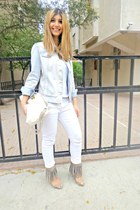 white Pull-it jeans - denim Mango jacket - fringe oscar heels