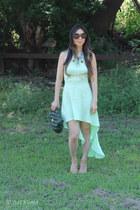 green similar from br Chanel bag - aquamarine ShopSeptember dress