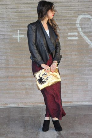 maroon Fire skirt - black Valentino boots - black Helmut Lang jacket