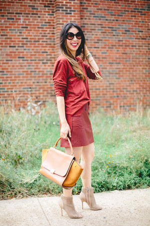 brick red leather French Connection skirt - tan sam edelman boots