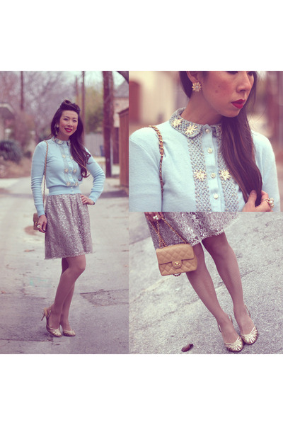 light blue thrifted vintage cardigan - camel cute from juicy Chanel bag