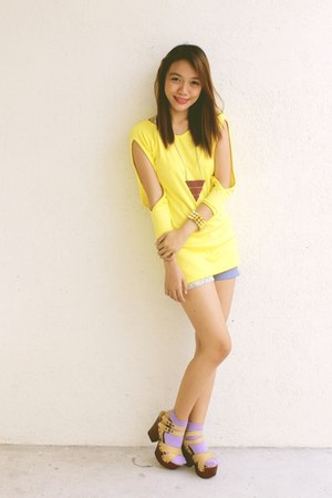 periwinkle lace shorts Clothepedia shorts - light yellow cut out Clothepedia top