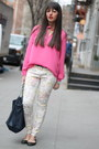Hot-pink-forever21-blouse-prada-bag