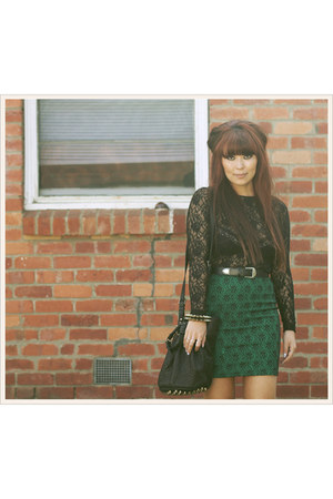 dark green Mossman skirt - black Alexander Wang bag - black vintage top