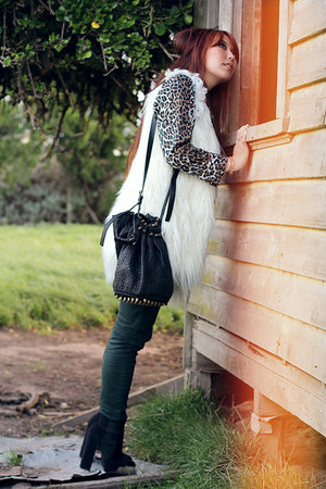 black new look boots - dark green Ziggy jeans - brown vintage leopard shirt