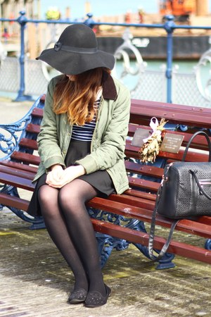 black Primark hat - olive green Boohoocom jacket - navy striped H&amp;M top