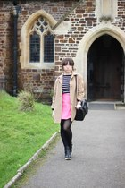 black heels River Island boots - camel wool vintage coat - black Primark bag