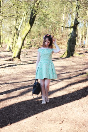 aquamarine Topshop dress - black faux leather Primark bag