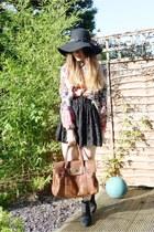 black Primark skirt - black River Island boots - black Primark hat