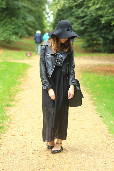 black faux leather Ebay jacket - black Primark bag - black maxi skirt Ebay skirt