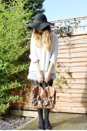 black Primark hat - brown Primark bag - periwinkle dip-dye Topshop shorts