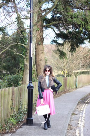 bubble gum midi Primark skirt - black leather Ebay jacket