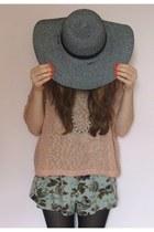 H&M jumper - Primark hat - Primark tights - floral Ebay romper