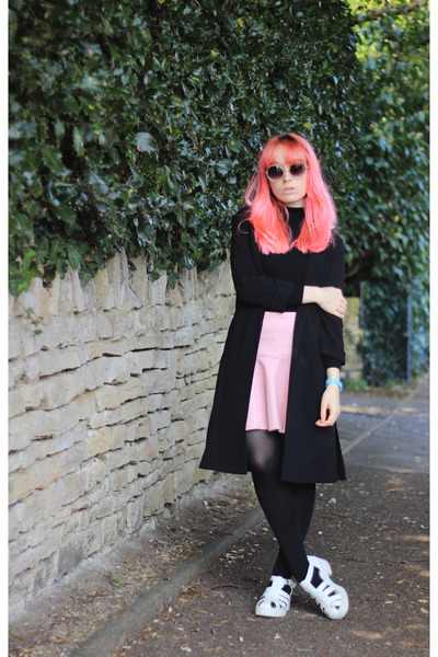 black duster Primark jacket - pink scuba asos skirt