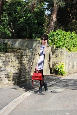 camel trench coat asos jacket - white stripes Topshop dress