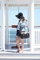 white logo cut-off Cheap Monday t-shirt - black fedora felt Primark hat