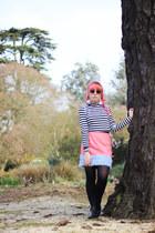 bubble gum faux leather River Island skirt - light pink faux fur DIY bag